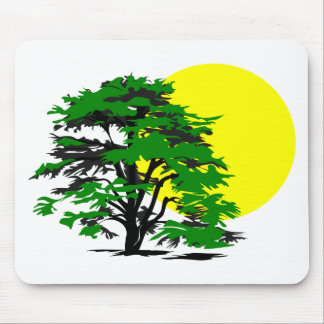 Tree Silhouette Setting Sun Mouse Pad
