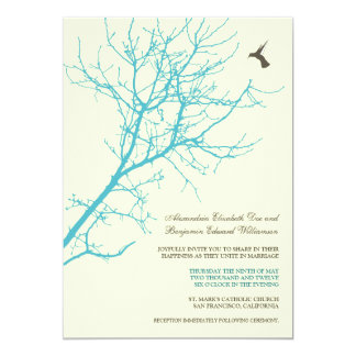 Tree Silhouette Wedding Invitation (aqua)