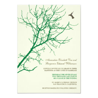 Tree Silhouette Wedding Invitation (emerald)
