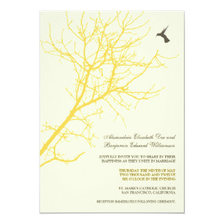 Tree Silhouette Wedding Invitation (lemon yellow)