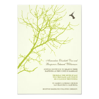 Tree Silhouette Wedding Invitation (lime green)