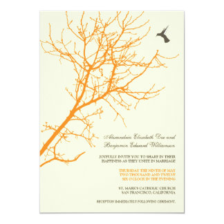 Tree Silhouette Wedding Invitation (orange)