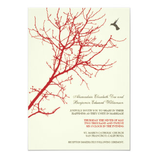 Tree Silhouette Wedding Invitation (red)