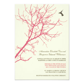 Tree Silhouette Wedding Invitation (rose pink)