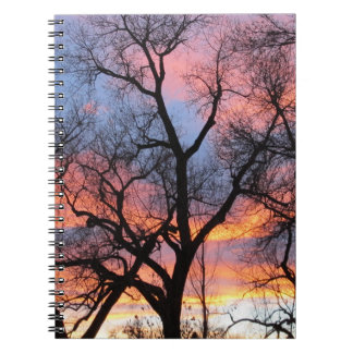 Tree Silhouettes at Dusk Spiral Notebook