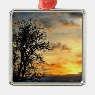 Tree Silhouettes at Sunset Metal Ornament