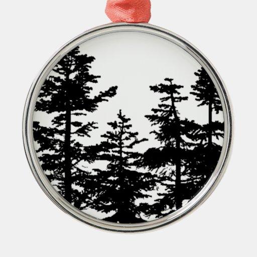 Tree Silhouettes Metal Ornament