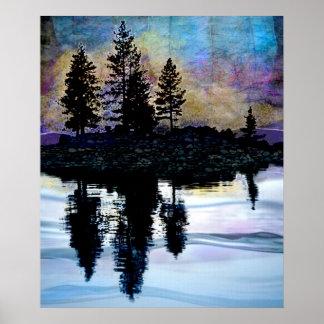 Tree Silhouettes on Autumn Lake Poster