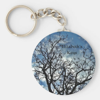 Tree silhouettes personalized keychain