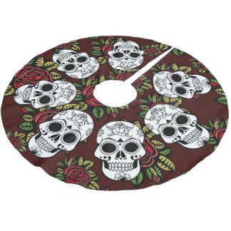 Tree skirt Christmas retro skull roses chic