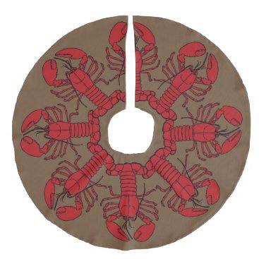 Beach Themed Tree skirt  Cute Lobster Nautical beach red brown