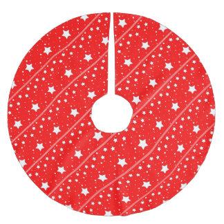 Tree Skirt - Estrellas en fondo rojo Falda Para Arbol De Navidad De Poliéster
