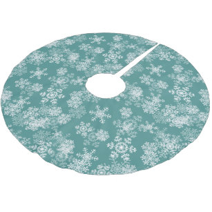 tree skirt snowflakes teal brushed polyester tree skirt - Teal Christmas Tree Skirt