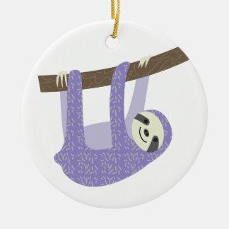 Tree Sloth Ceramic Ornament