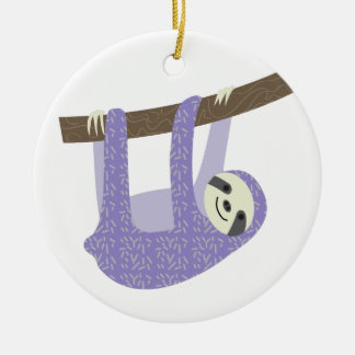 Tree Sloth Double-Sided Ceramic Round Christmas Ornament