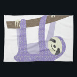 "Tree Sloth Towel<br><div class=""desc"">A happy sloth hangs from a tree branch in this light hearted graphic.  This sloth is especially special because he doesn&#39;t have fur - he has a lovely purple print!</div>"