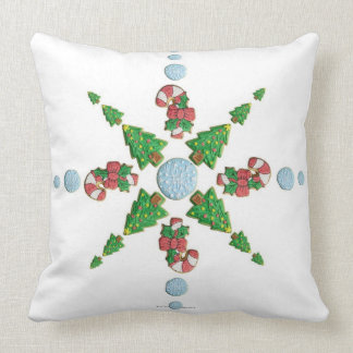 Tree, Snowflake and Candy Cane Cookie Snowflake Throw Pillow