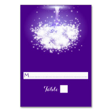 Tree, sparkling lights purple wedding place card table cards