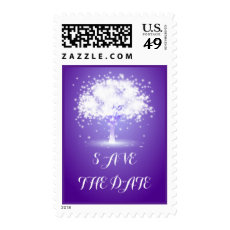 Tree sparkling lights purple wedding Save the Date Stamps