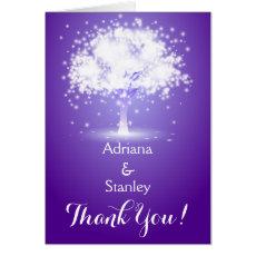 Tree & sparkling lights purple wedding Thank You Greeting Cards