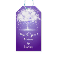 Tree & sparkling lights purple wedding Thank You Pack Of Gift Tags