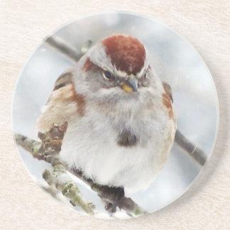 Tree Sparrow in Winter Beverage Coaster