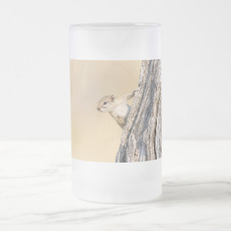 Tree squirrel frosted glass beer mug