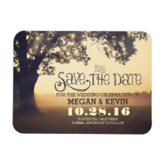 Tree String Lights Enchanted Evening Save The Date Magnet at Zazzle