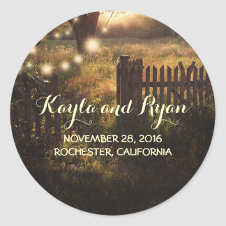 Tree String Lights Rustic Country Wedding Classic Round Sticker