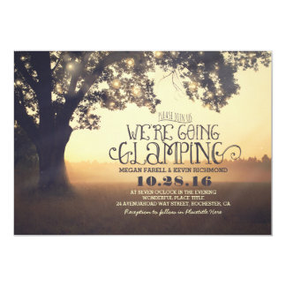 Tree String Lights - We Are Going Glamping Wedding Card