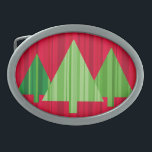 """Tree Stripes Christmas Belt Buckle<br><div class=""""desc"""">Celebrate your favorite holiday with these mod Christmas trees designed by Ridge Rooms.</div>"""