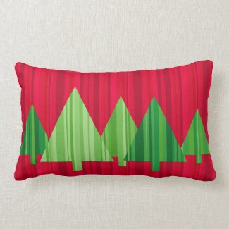 Tree Stripes Christmas Pillow — LUMBAR (Red)