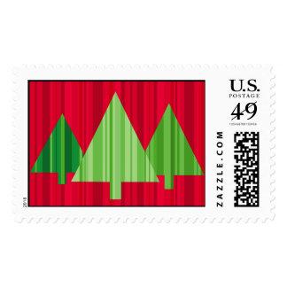 Tree Stripes Christmas Postage Large