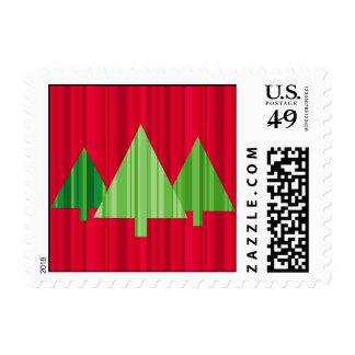Tree Stripes Christmas Postage Small