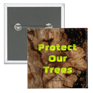 Tree Stump 2 Inch Square Button