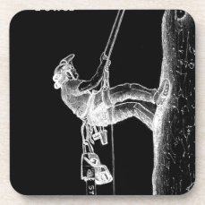 Tree Surgeon Arborist at work present Chainsaw Drink Coaster
