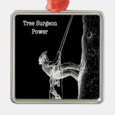 Tree Surgeon Arborist at work present Chainsaw Metal Ornament
