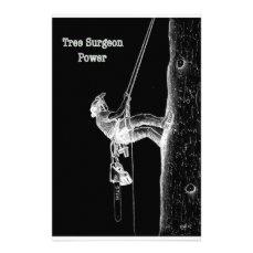 Tree Surgeon Arborist at work present Chainsaw Stationery