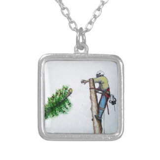 Tree Surgeon Arborist at work present Silver Plated Necklace