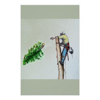 Tree Surgeon Arborist at work present Stationery