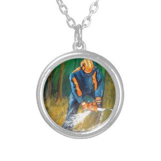 Tree Surgeon Arborist christmas present Birthday Silver Plated Necklace