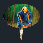 "Tree Surgeon Arborist Forester Cake Topper<br><div class=""desc"">Hard at work.</div>"