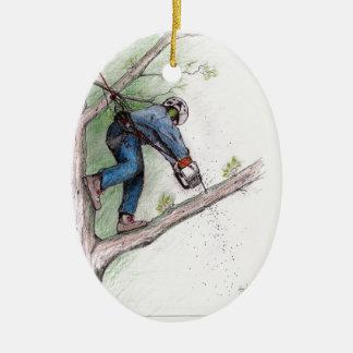 Tree Surgeon Arborist Lumberjack Ceramic Ornament