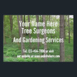 "Tree Surgeons / Garden Services Customizable Lawn Sign<br><div class=""desc"">Ideal for tree surgeons / garden / landscaping services or use this yard sign with a stunning trees in the sun photograph for other events or businesses..   totally customizable yard sign  personalize with your own text for an event,  your garden,  office or anywhere .. yard signs from Ricaso</div>"