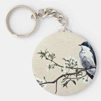 Tree swallow  flowers keychain