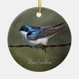 Tree Swallow Round Christmas Tree Ornament