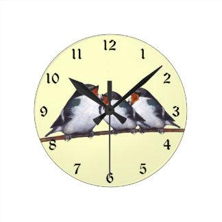 Tree Swallows: Three Birds: Originl Art Round Wallclocks