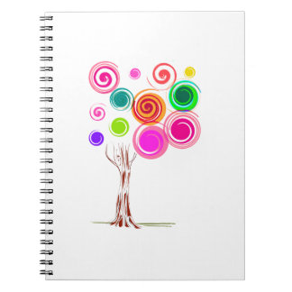 tree swirly foliage colourful spiral notebook