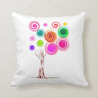 tree swirly foliage colourful throw pillow