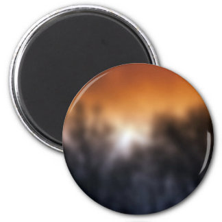 Tree Themed, A Blurry Picture Of Bunch Of Trees Wi 2 Inch Round Magnet